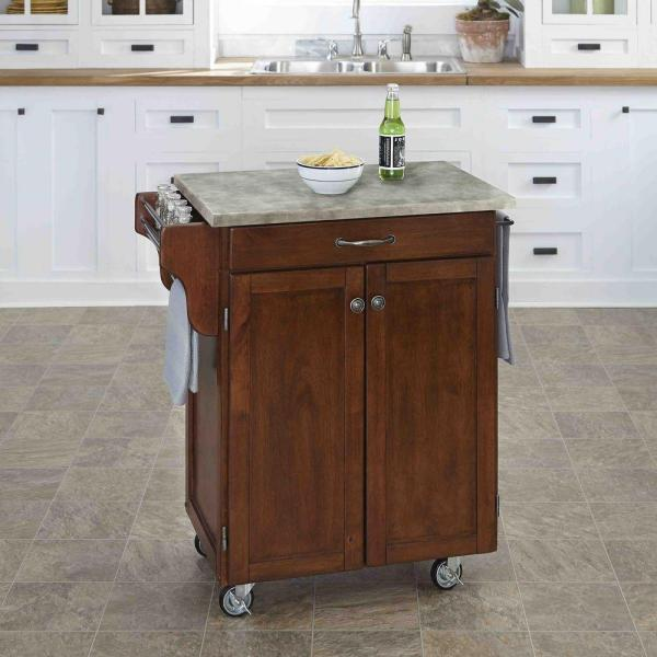 Home Styles Cuisine Cart Cherry Kitchen Cart With Concrete Top 9001-0711