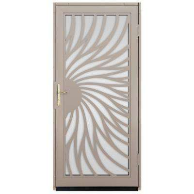 Solstice Outswing Security Door With Shatter Resistant Glass Inserts And  Polished Brass Hardware