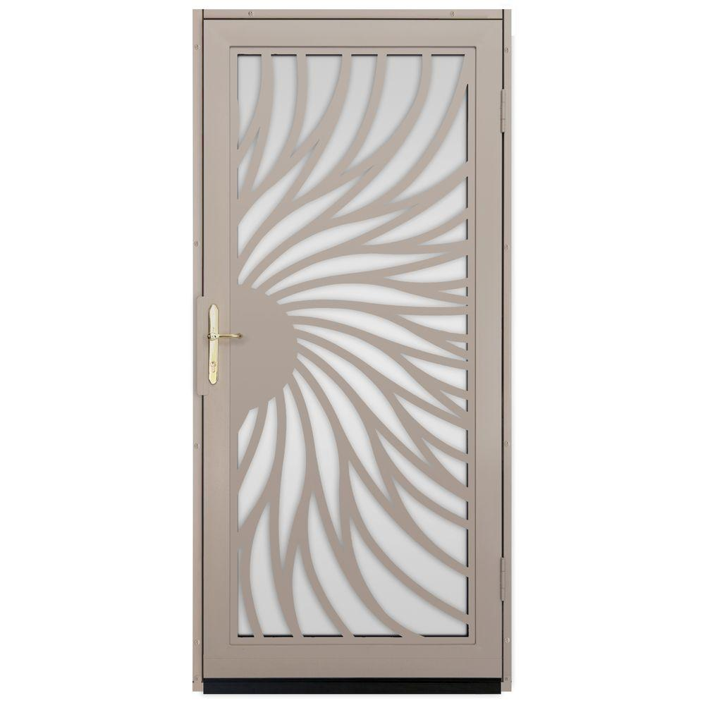 Unique Home Designs 36 In X 80 In Solstice Tan Surface Mount Steel Security Door With Shatter Resistant Glass And Brass Hardware