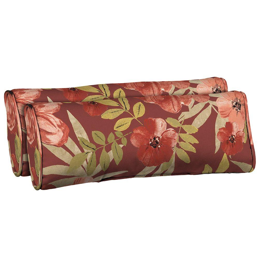 Hampton Bay Chili Tropical Blossom Side Band Outdoor Lumbar Pillow