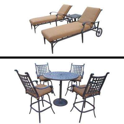 Belmont Premier 8-Piece Aluminum Outdoor Bar Height Dining Set with Sunbrella Brown Cushiosn