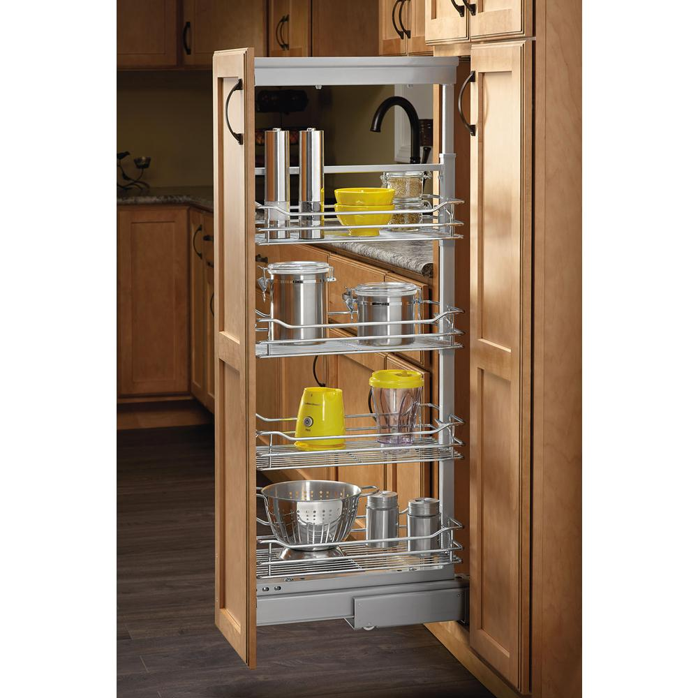 14 in. Chrome 4 Basket Pull-Out Pantry with Soft-Close Slides