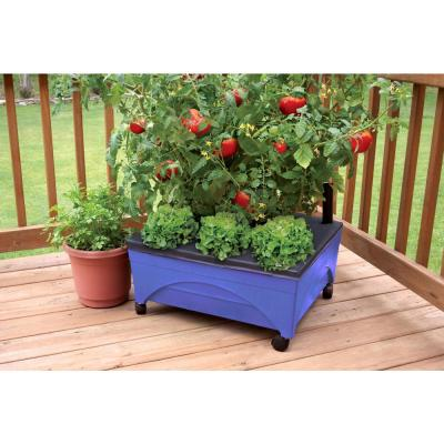 24.5 in. x 20.5 in. Patio Raised Garden Bed Kit with Watering System and Casters in Cobalt Blue