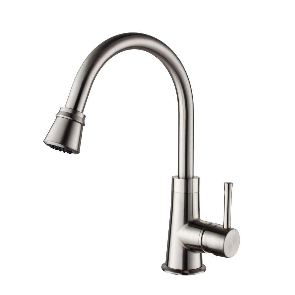 KRAUS Single-Handle Pull-Out Sprayer Kitchen Faucet in Satin Nickel
