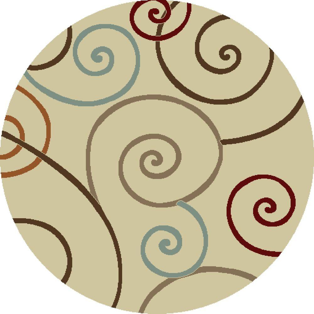 Chester Scroll Ivory 5 ft. 3 in. Round Area Rug
