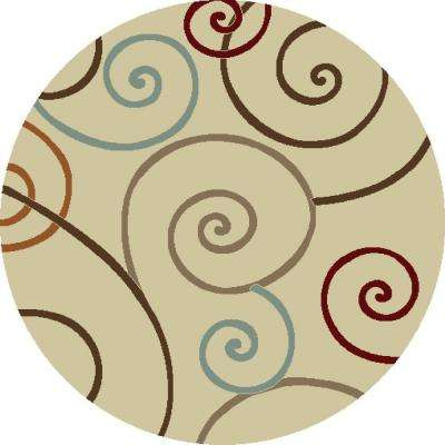 Chester Scroll Ivory 5 ft. Round Area Rug