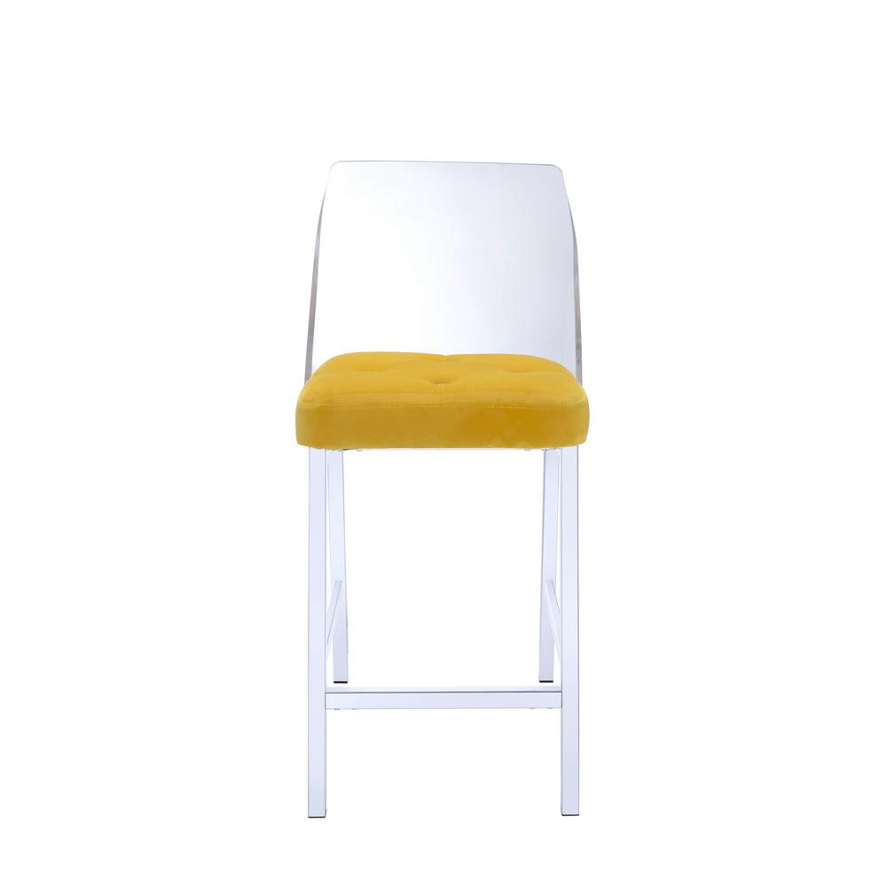 Nadie II Chrome, Acrylic and Yellow Velvet Counter Height Chair