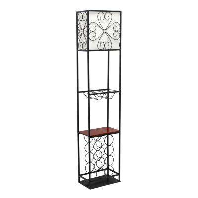 63 in. 1-Light Black Etagere Organizer Wood Accented Storage Shelf and Wine Rack Floor Lamp with Linen Shade