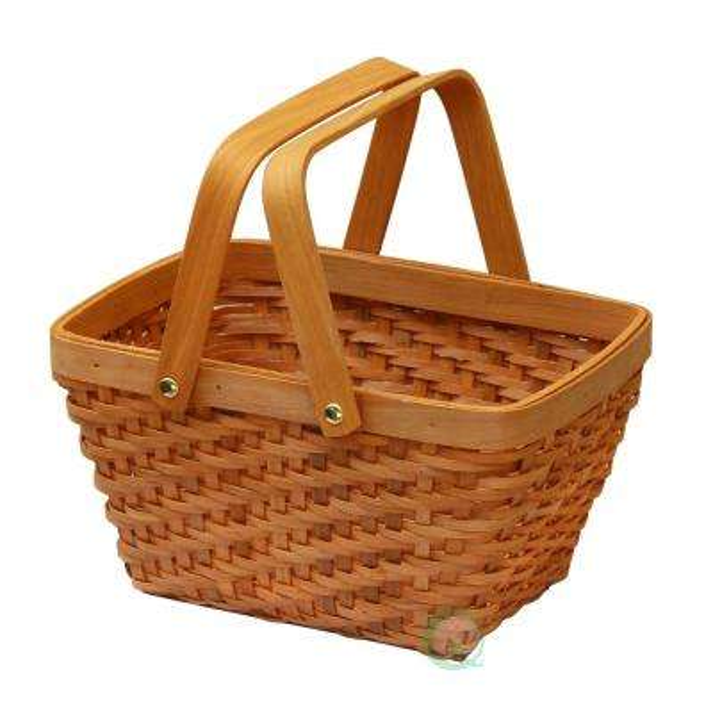 10.2 in. x 7.7 in. x 5.5 in. Wood Chip Rectangular Picnic Basket