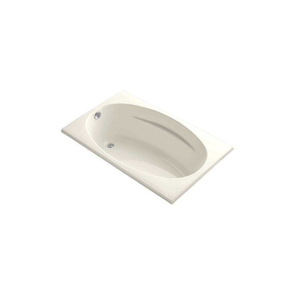 KOHLER ProFlex 6036 5 ft. Rectangle Reversible Drain Soaking Tub in Biscuit