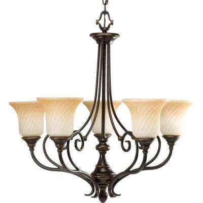 Kensington Collection 5-Light Forged Bronze Chandelier with Frosted Caramel Swirl Glass Shade