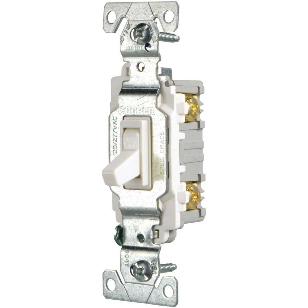15 Amp Single Pole Light Switch, White