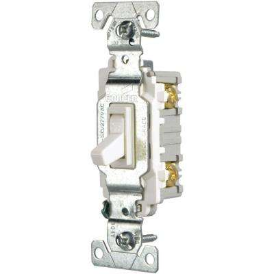 15 Amp Single Pole Light Switch, White