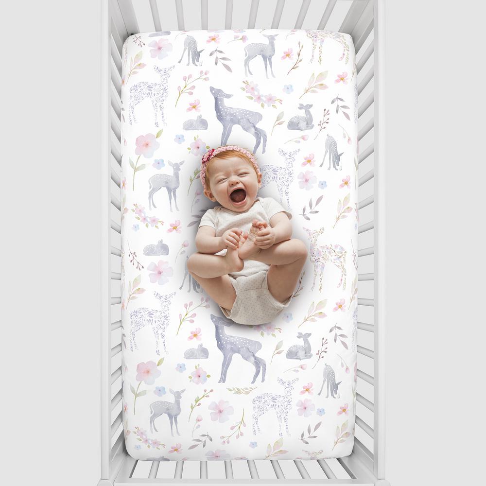 Super Soft Grey Floral Deer Polyester Nursery Crib Fitted Sheet