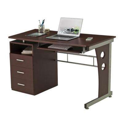 48 in. Rectangular Chocolate 3 Drawer Computer Desk with Keyboard Tray