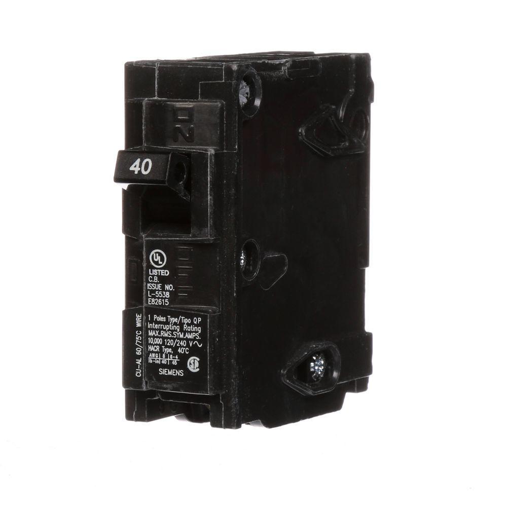 Siemens 40 Amp Single-Pole Type QP Circuit Breaker