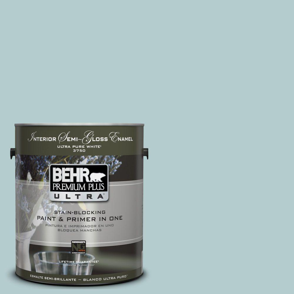 BEHR Premium Plus Ultra 1-gal. #UL220-8 Clear Pond Interior Semi-Gloss Enamel Paint