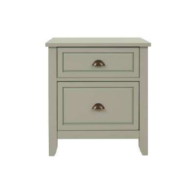 Cordale 2 Drawer Moss Green Wood Nightstand (24 in W. X 26 in H.)