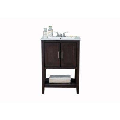 22 in.W Bath Vanity with Single Sink Vanity Top in Antique Coffee with White Ceramic Basin