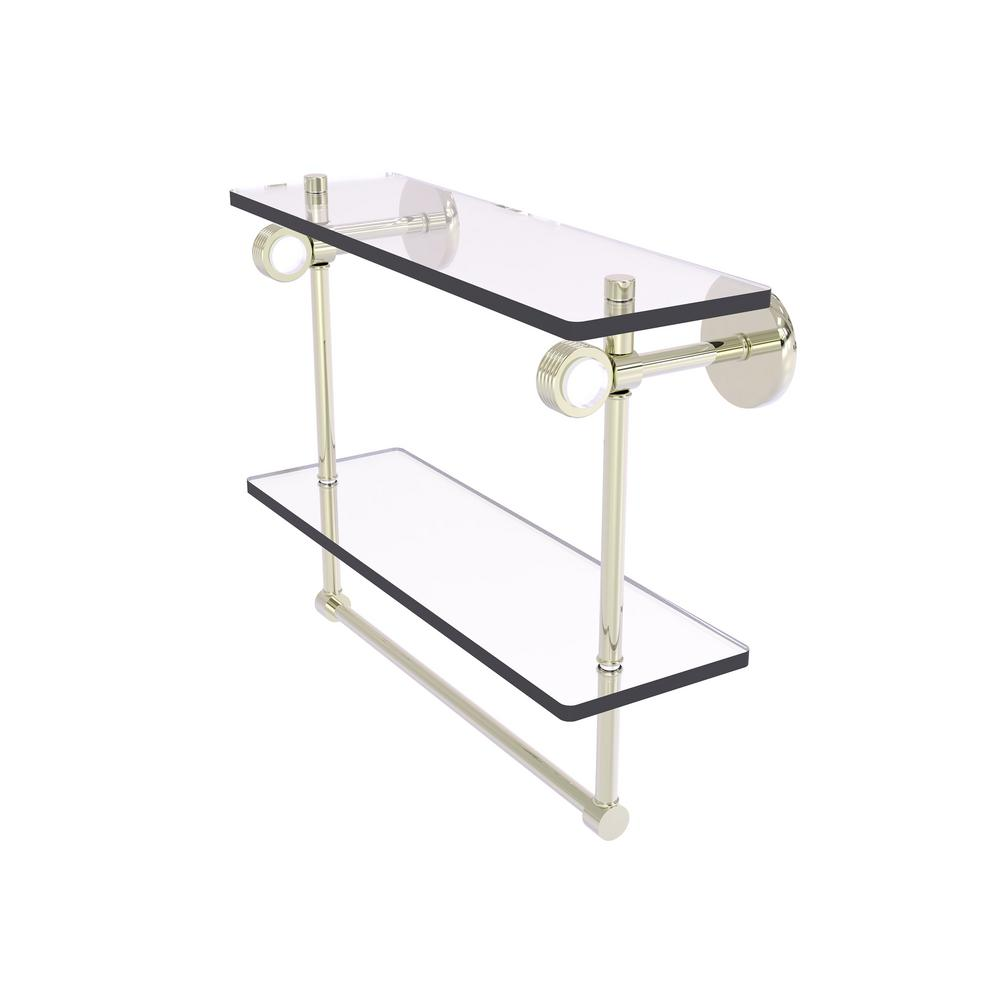 Allied Brass Clearview Collection 16 Inch Double Glass Shelf With Towel Bar And Groovy Accents In Polished Nickel Cv 2tbg 16 Pni The Home Depot