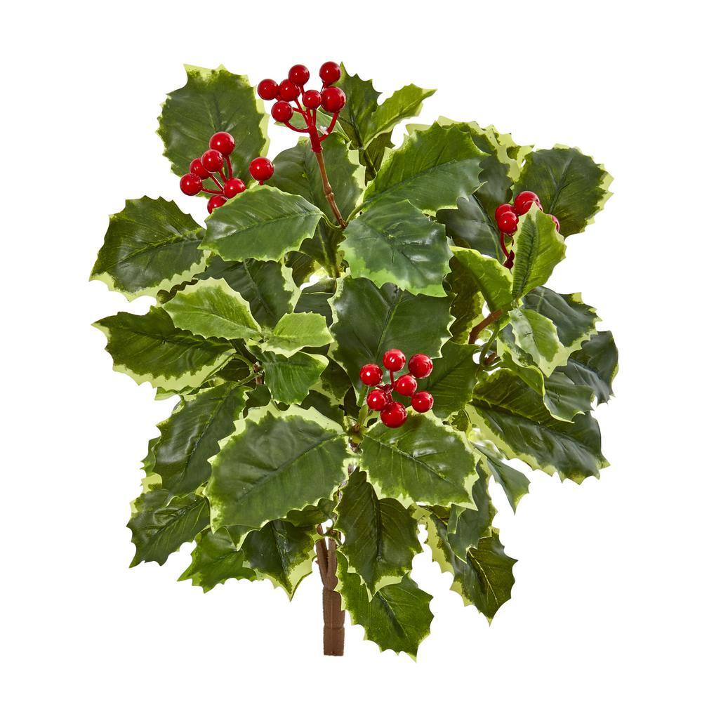 Indoor 14 Variegated Holly Leaf Bush Artificial Plant (Set of 12)