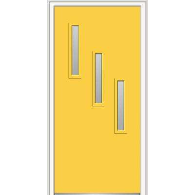 36 in. x 80 in. Davina Left-Hand Inswing 3-Lite Frosted Glass Painted Steel Prehung Front Door on 6-9/16 in. Frame