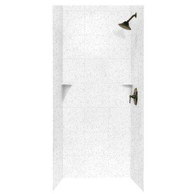 Square Tile 36 in. x 36 in. x 96 in. 3-Piece Easy Up Adhesive Alcove Shower Surround in Arctic Granite