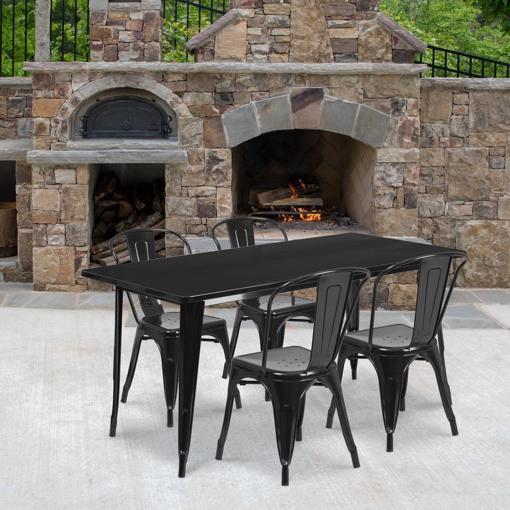 Black 5-Piece Metal Rectangle Outdoor Bistro Set