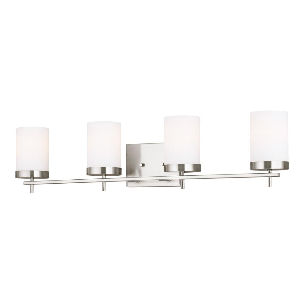 Sea Gull Lighting Zire 34 in. W 4-Light Brushed Nickel Vanity Light with Etched White Glass Shades