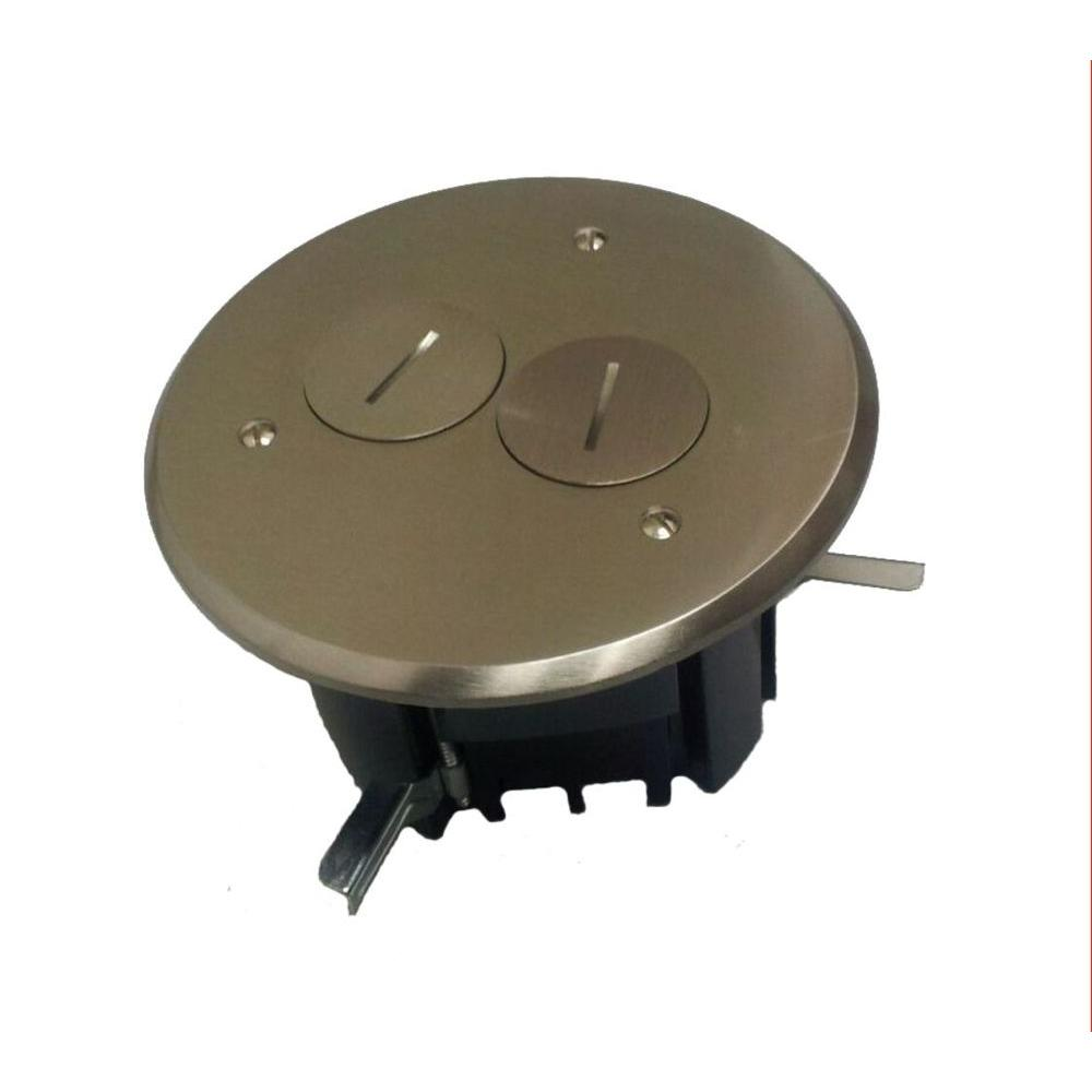 Duplex Device 24-1/2 cu. in. Old Work Round Floor Box with Nickel Plated Cover