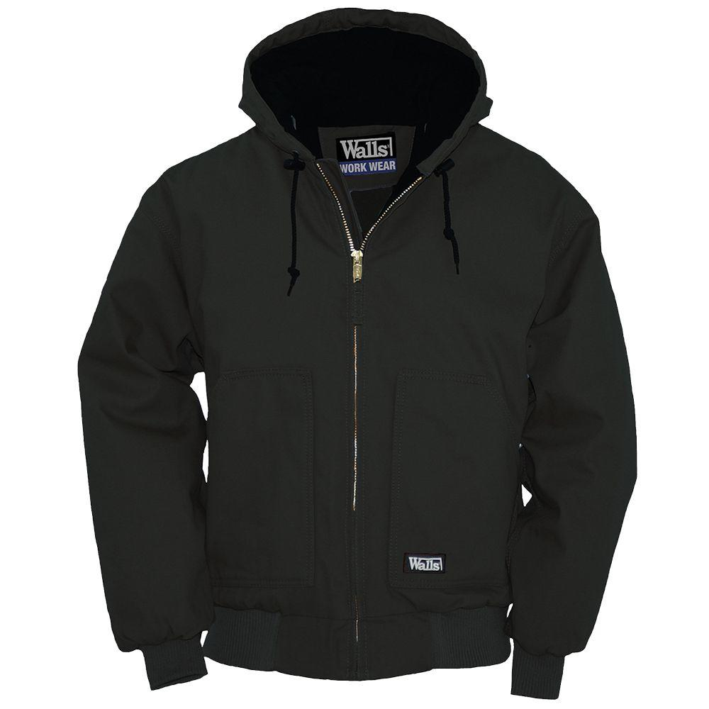 Walls Heavyweight Duck Insulated Hooded Large Regular Jacket in Black