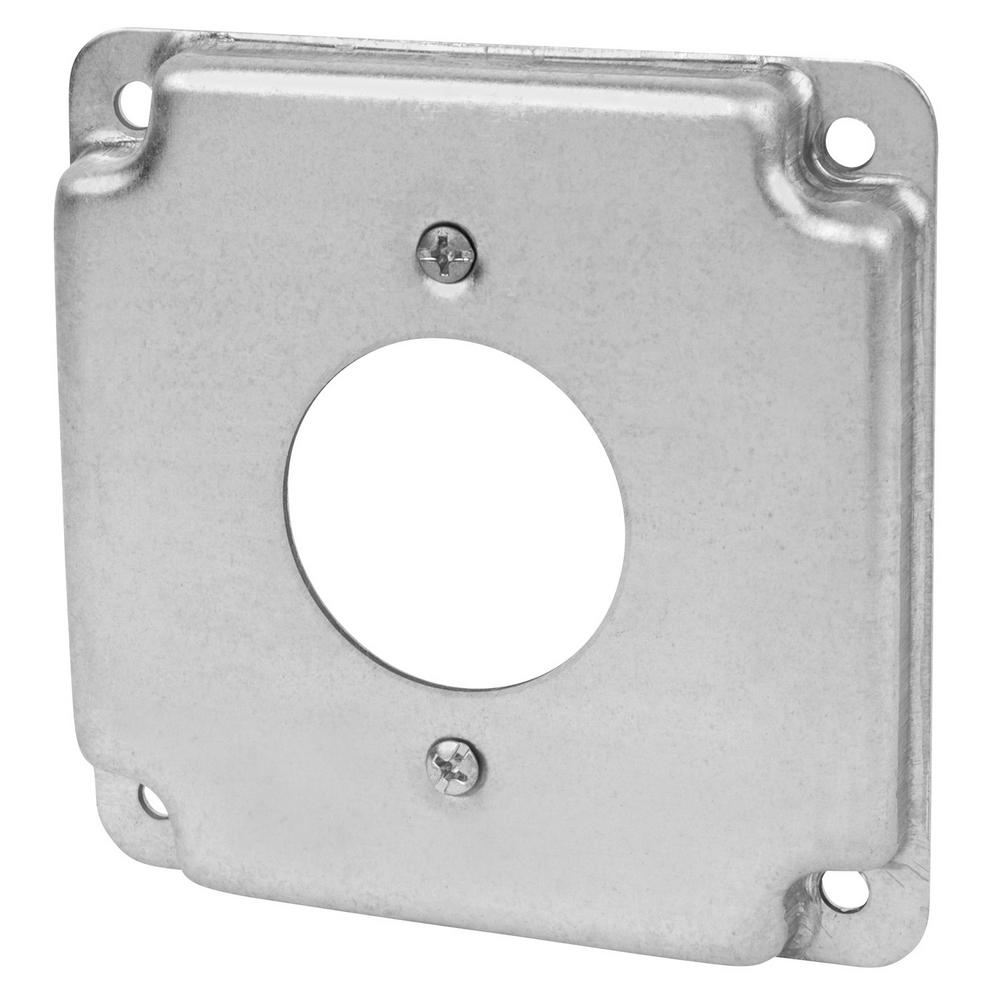 Steel City 4 In Square Box Cover For Single Twist Lock Receptacle Home Depot Aluminum Wiring Receptacles Case Of 10 Rs4 10r The