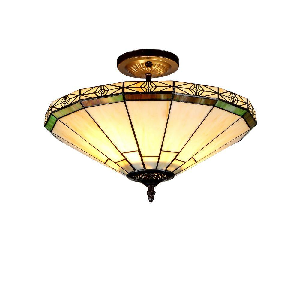Chloe Lighting Belle 2-Light Bronze Tiffany Style Mission Semi Flush Mount Ceiling Fixture with 16 in. Shade