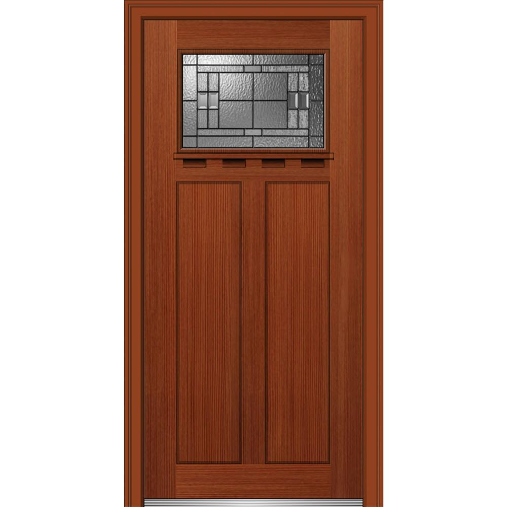 32in.x80in. Roman Glass Left-Hand Craftsman 2-Panel 1-Lite Decorative Stained