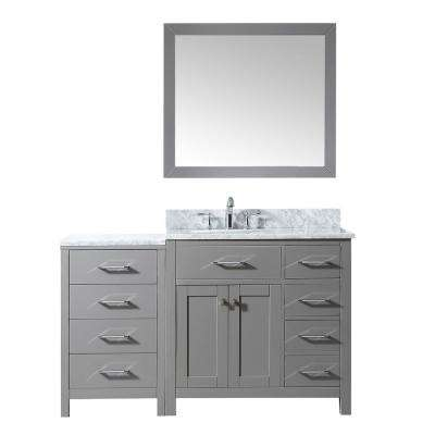 Caroline Parkway 56 in. W x 22 in. D Vanity in Cashmere with Marble Vanity Top in White with White Basin and Mirror