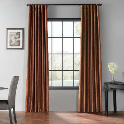 Copper Kettle Brown Blackout Vintage Textured Faux Dupioni Silk Rod Pocket Curtain - 50 in. W x 96 in. L