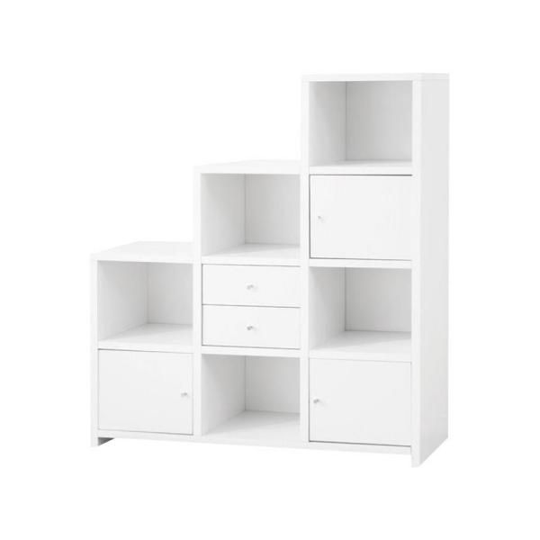 50 in. L x 15.25 in. W x 63 in. H White Asymmetrical Bookcase with Cube Storage Compartments