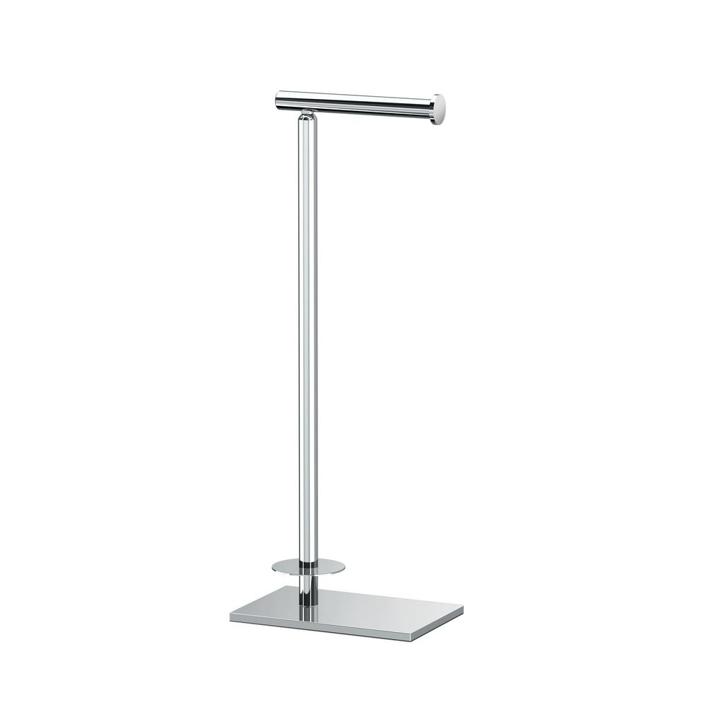 Gatco Latitude Ii Square Free Standing Toilet Paper Holder With Storage In Chrome 1443c The Home Depot