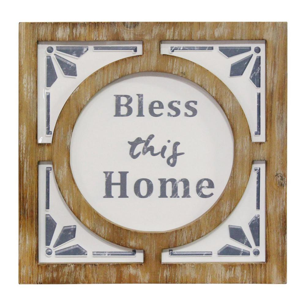 Collections Etc Bless This Home with Love and Laughter Family Accent Plate Scrolling Black Metal Stand Included Metal Resin Tabletop Home D/écor