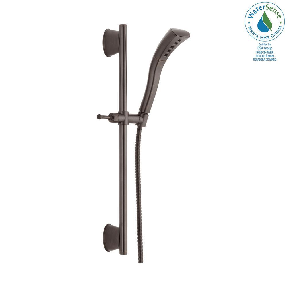 Stryke 1-Spray 2.3 in. Single Wall Mount Handheld H2Okinetic Shower Head in Venetian Bronze