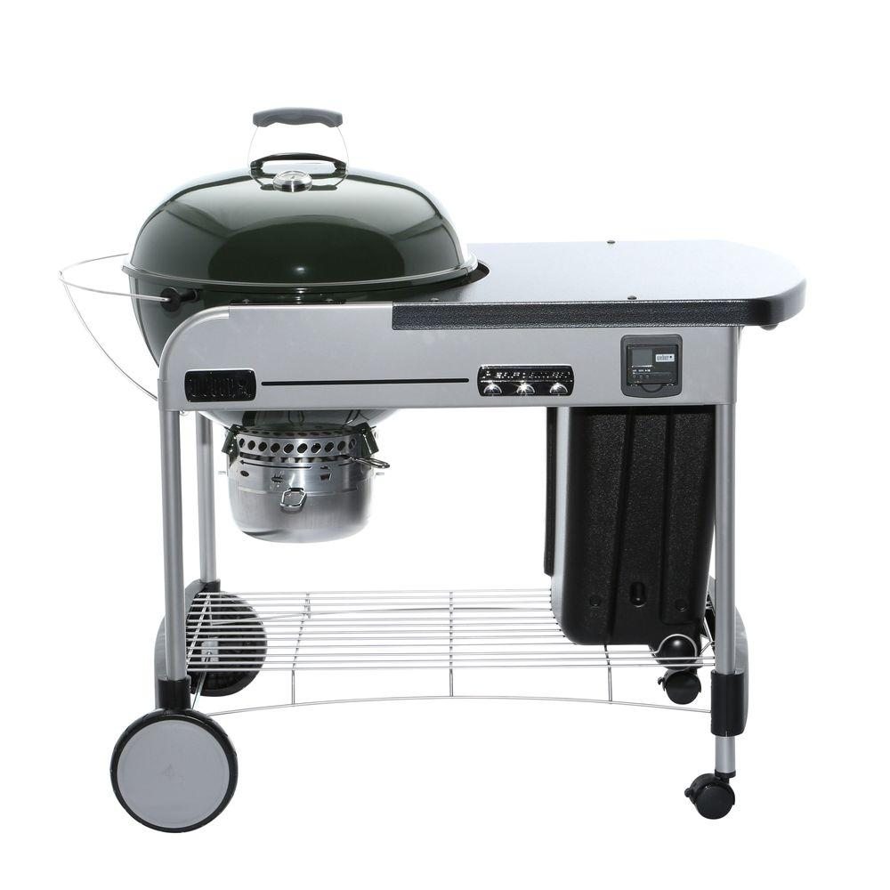 weber 22 in performer premium charcoal grill in green. Black Bedroom Furniture Sets. Home Design Ideas