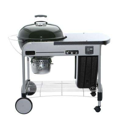 22 in. Performer Premium Charcoal Grill in Green with Built-In Thermometer and Digital Timer