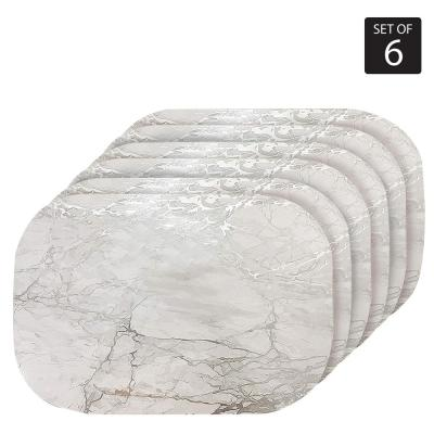 """Marble Cork 12 in. x 18"""" In. Grays and Silver Cork Oval Placemats Set of 6"""
