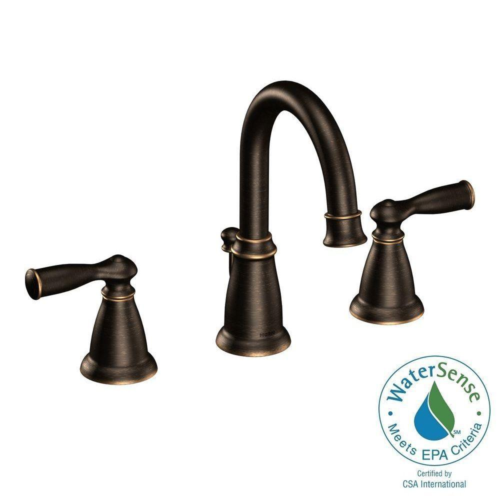 MOEN Banbury 8 In. Widespread 2 Handle Bathroom Faucet In Mediterranean  Bronze