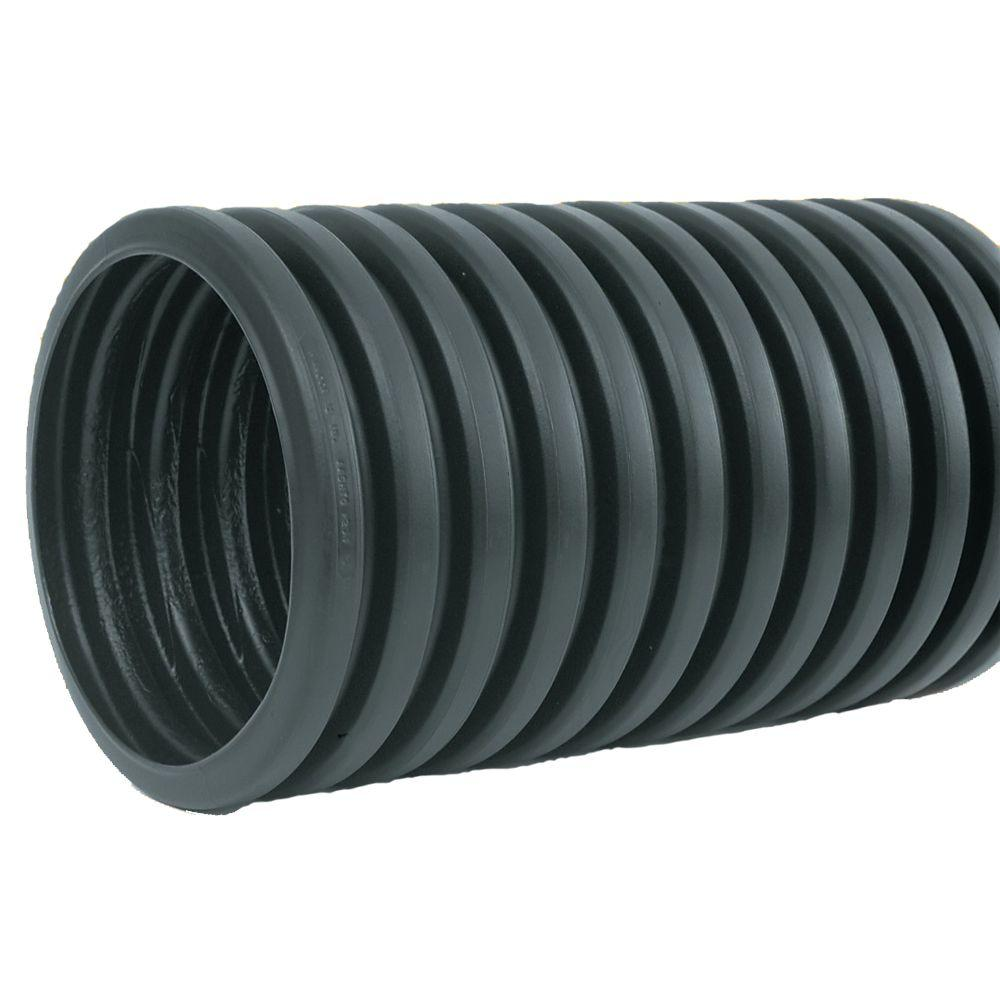 4 In X 10 Ft Corrugated Hdpe Drain Pipe Solid With Bell End 4540010 The Home Depot