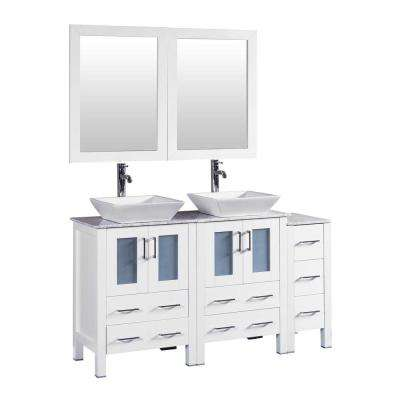 60 in. W Double Bath Vanity in White with Carrara Marble Vanity Top with White Basin and Mirror