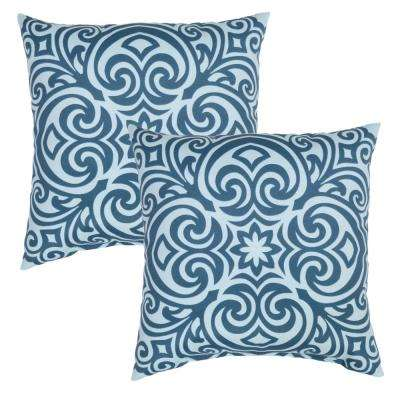 Charleston Corinthian Square Outdoor Throw Pillow (2-Pack)