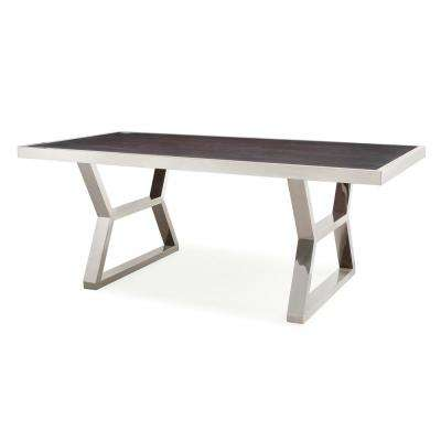 Tula Wood Silver Metal Dining Table
