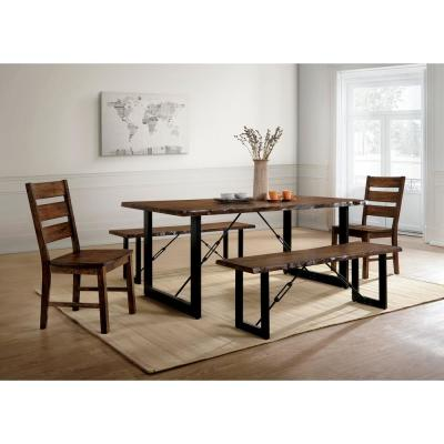 Dulce Walnut and Black Industrial Style Dining Table