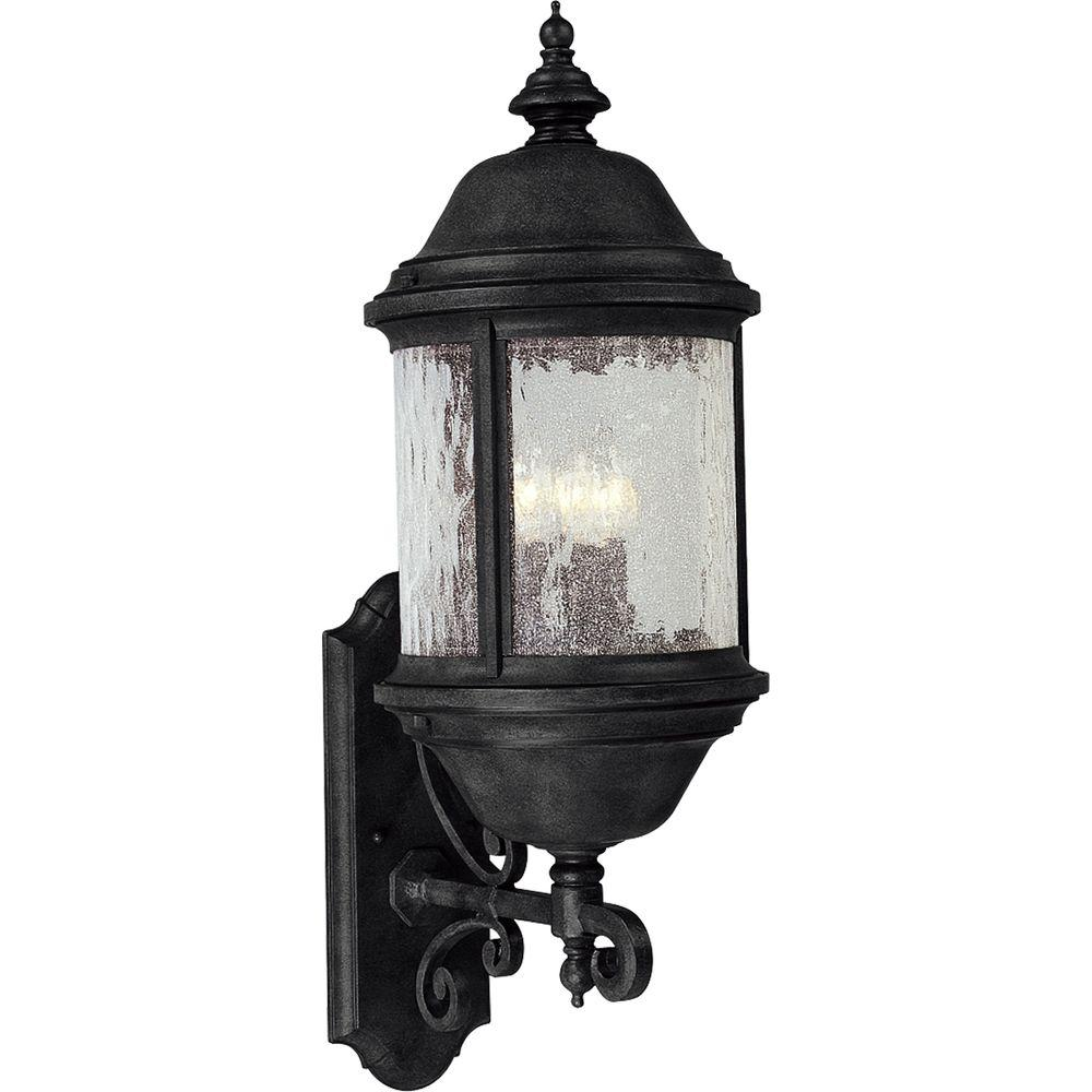 Progress Lighting Ashmore Collection 3-Light Outdoor Textured Black Wall Lantern Sconce